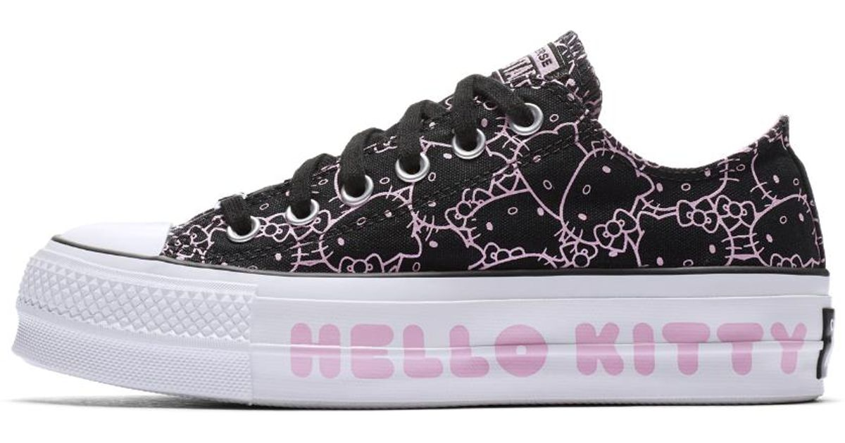 Lyst - Converse X Hello Kitty Chuck Taylor All Star Clean Lift Canvas Low  Top Women s Shoe in Black 346004681