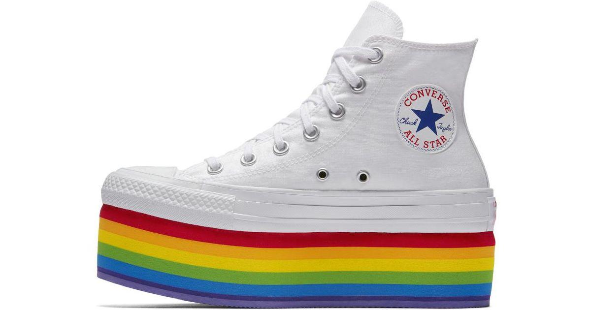 42499654720 Lyst - Converse Pride X Miley Cyrus Chuck Taylor All Star Platform High Top  Shoe in Metallic