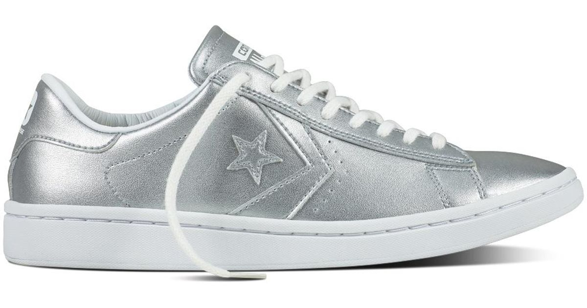 Converse Cons Pro Leather Lp Metallic in White - Lyst 22615ab95bbd