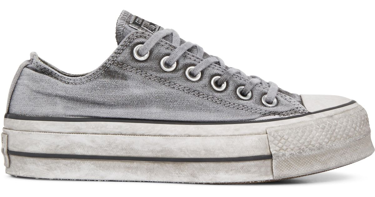 fa2e480c04b Converse Chuck Taylor All Star Lift Smoked Canvas Low Top in Gray - Lyst
