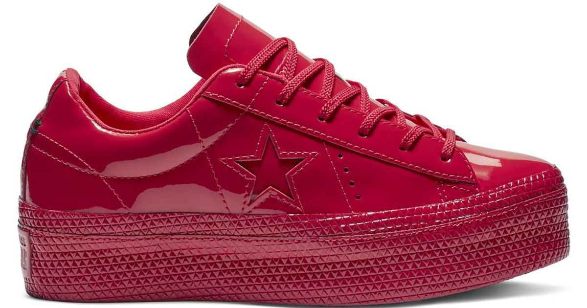 130b6dc9b5bb Converse One Star Platform Patented  90s Faux Leather Low Top in Red - Lyst