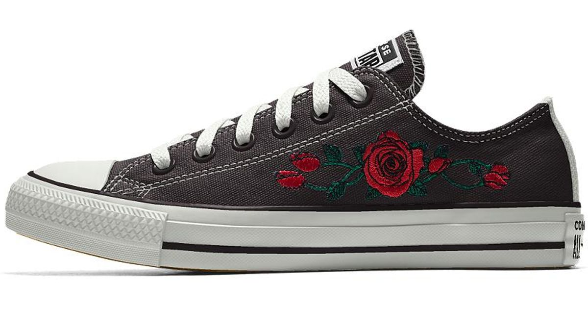 991253306b63 Lyst - Converse Custom Chuck Taylor All Star Rose Embroidery Low Top Shoe