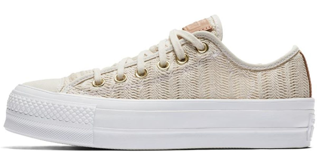 Lyst - Converse Chuck Taylor All Star Lift Herringbone Mesh Low Top Women s  Shoe in White 172093fe6