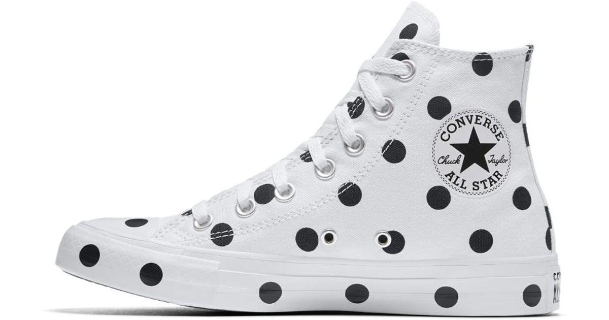 0b9a5b8a7900d1 Lyst - Converse Chuck Taylor All Star Polka Dots High Top Women s Shoe in  White