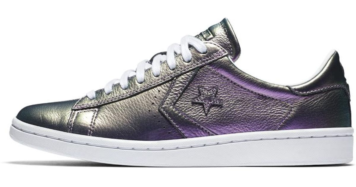 0f08dde78be Lyst - Converse Pro Leather Lp Iridescent Leather Low Top Women s Shoe in  Purple