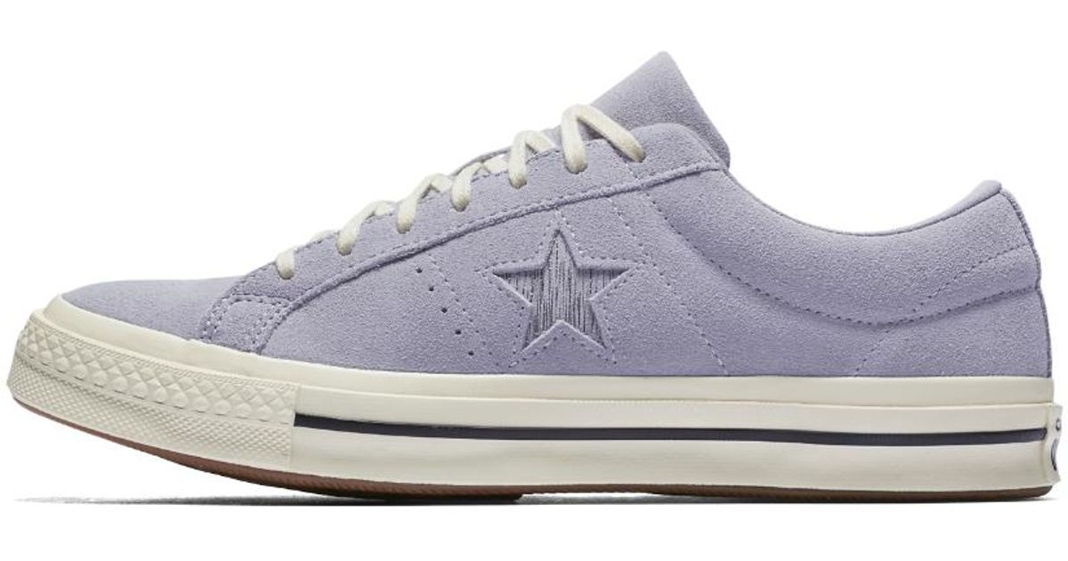 ac7a5eeac33185 Lyst - Converse One Star Precious Metal Suede Low Top Women s Shoe in White