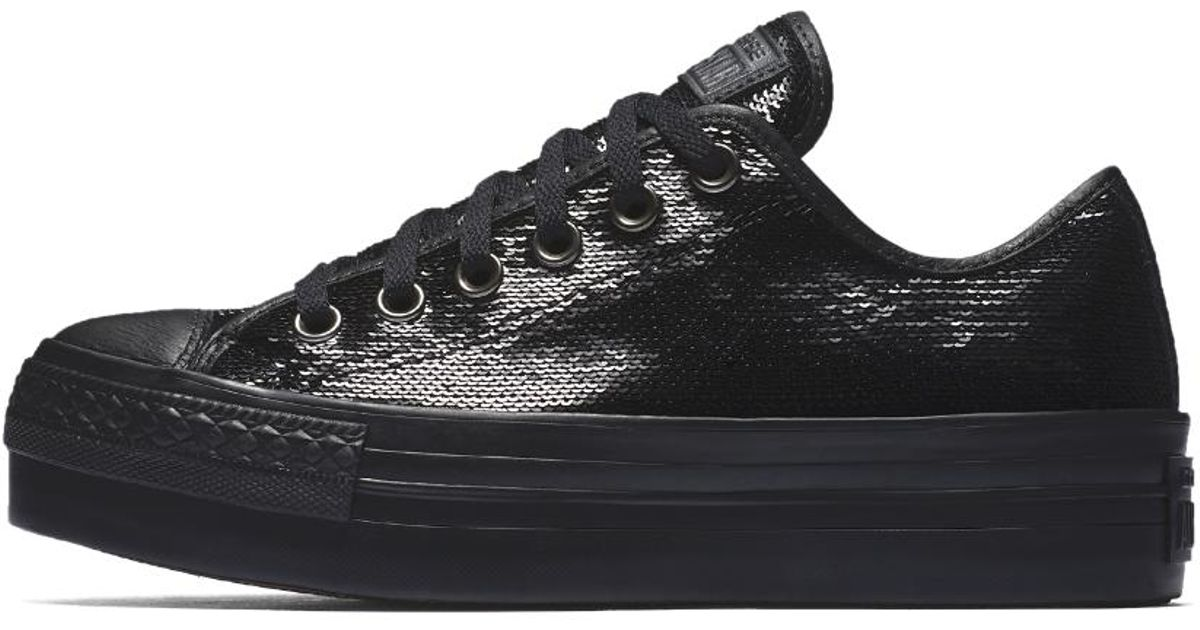 f560a496ad22 Converse Chuck Taylor All Star Sequin Platform Low Top Women's Shoe in Black  - Lyst