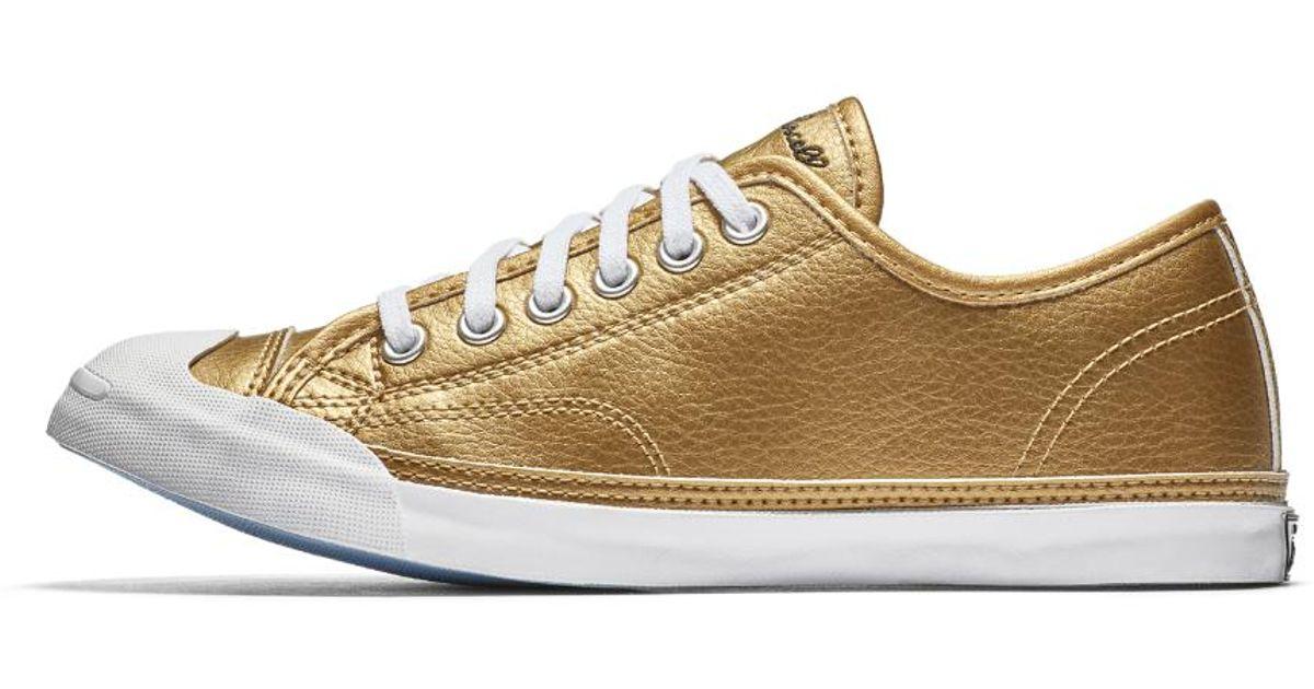 4b1c1bc3e97b Lyst - Converse Jack Purcell Lp Metallic Leather Low Top Women s Shoe in  Metallic