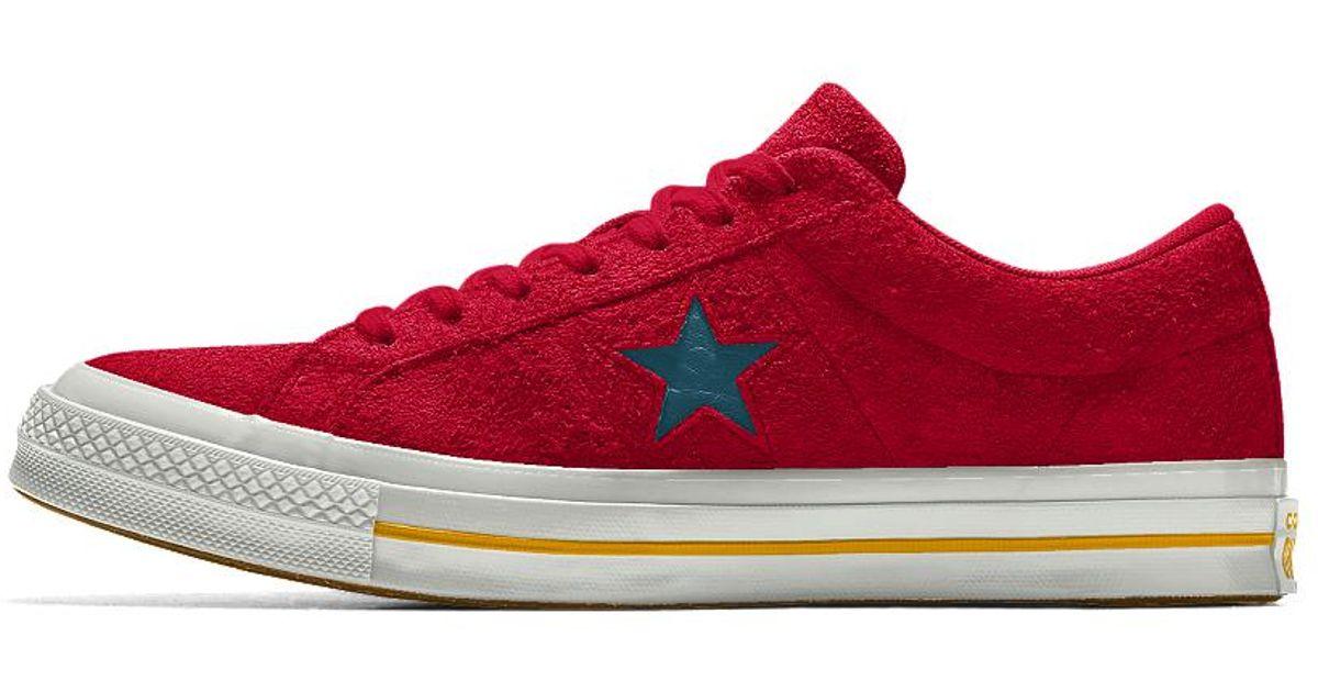 517b736f26d2a8 Lyst - Converse Custom One Star Premium Suede Shoe in Red