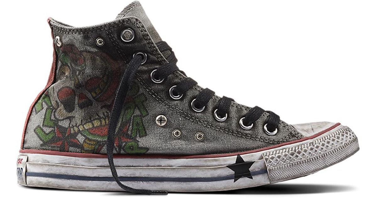449b3b589fd9 Converse Chuck Taylor All Star Ltd Tattoo Printed Skull in Black for Men -  Lyst