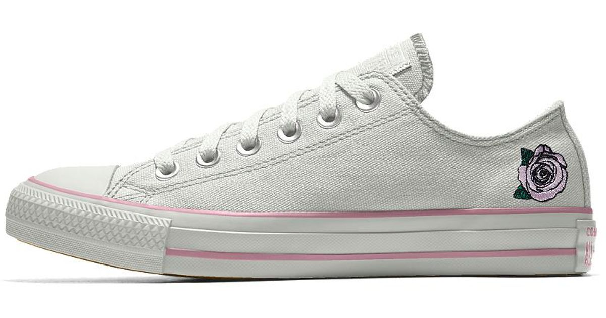 fbb6c95959f Converse Custom Chuck Taylor All Star Rose Embroidery Low Top Shoe in White  for Men - Lyst