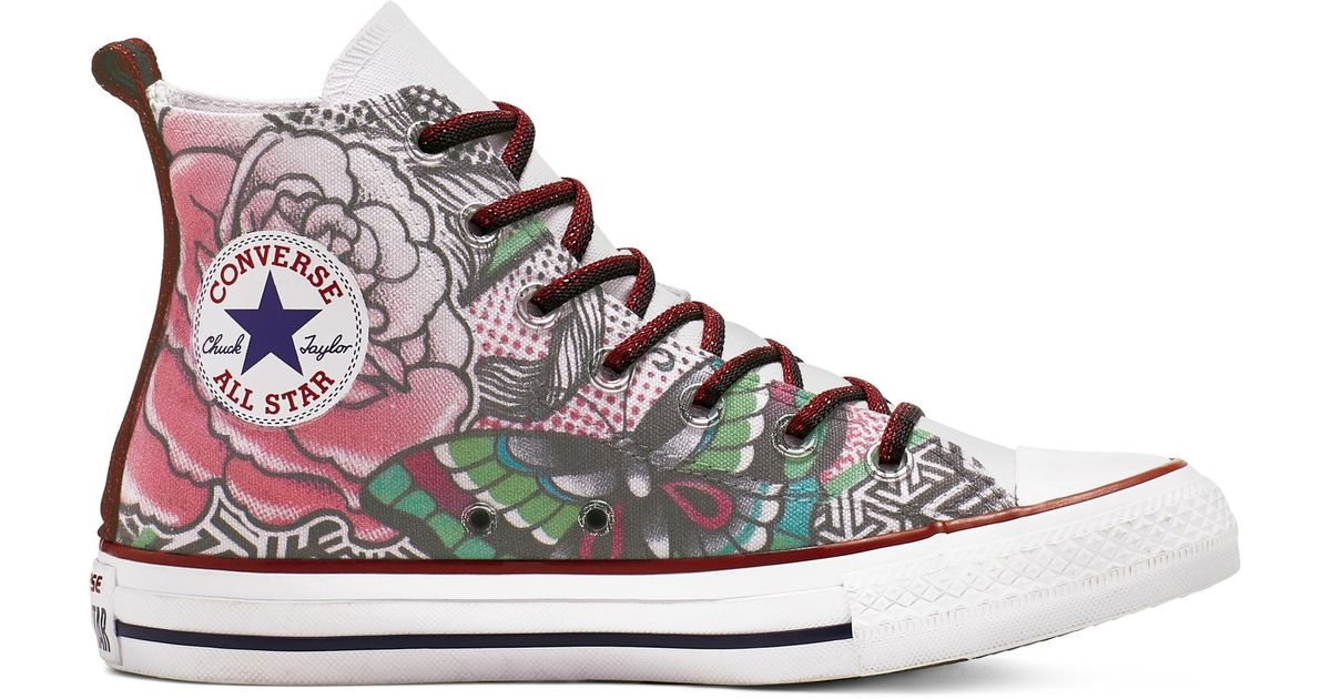 Converse Chuck Taylor All Star Rose Tattoo High Top in White - Lyst