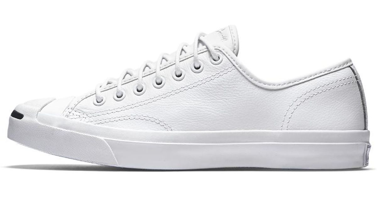 b62cd0dee36d Lyst - Converse Jack Purcell Tumbled Leather Low Top Shoe in White