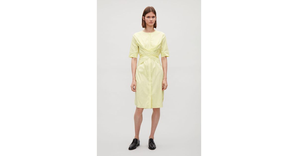 Lyst - COS Tie-back Shirt Dress in Yellow 03a9009bd