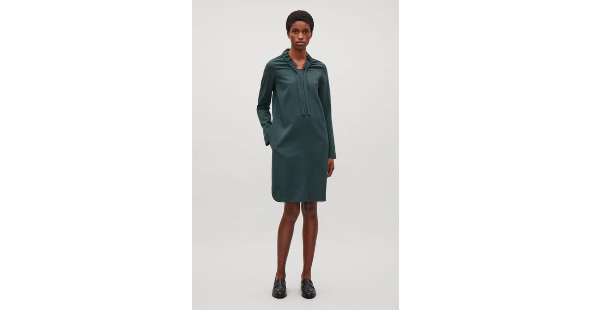 311c633eb9d0 COS Gathered-neck Wool Dress in Green - Lyst