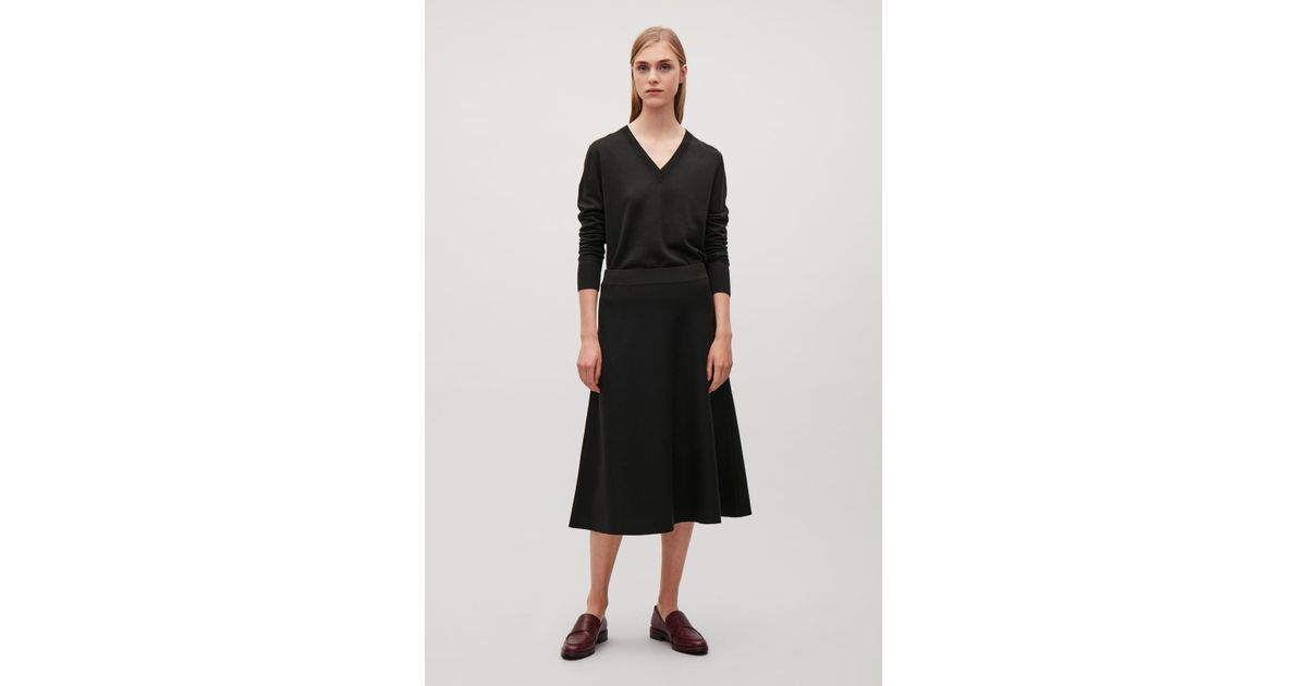 373a7c92244 Lyst - COS Milano Wool A-line Skirt in Black