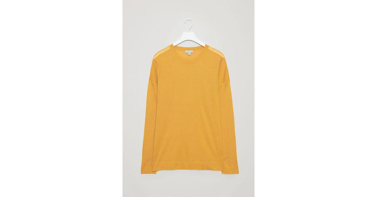 544999c5b35 COS - Yellow Fine Silk-merino Jumper for Men - Lyst