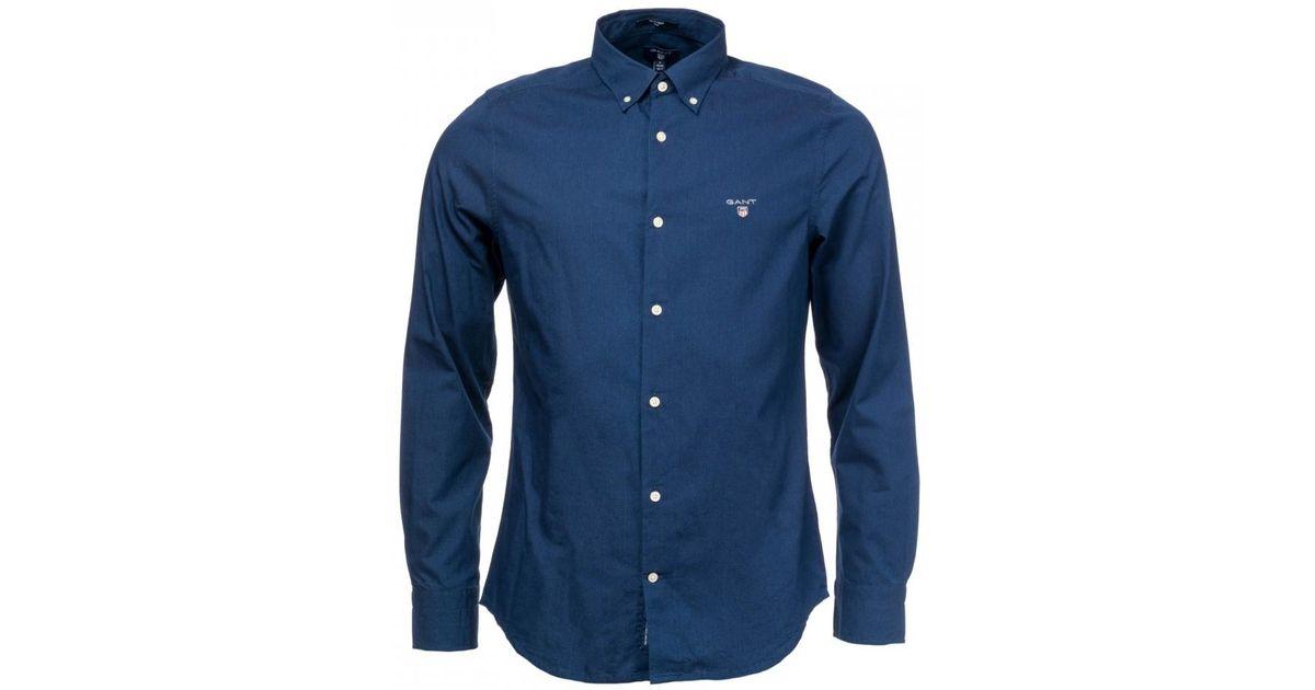 04d0ef53dea Lyst - GANT O1. Tp Indigo Solid Slim Bd Mens Shirt in Blue for Men