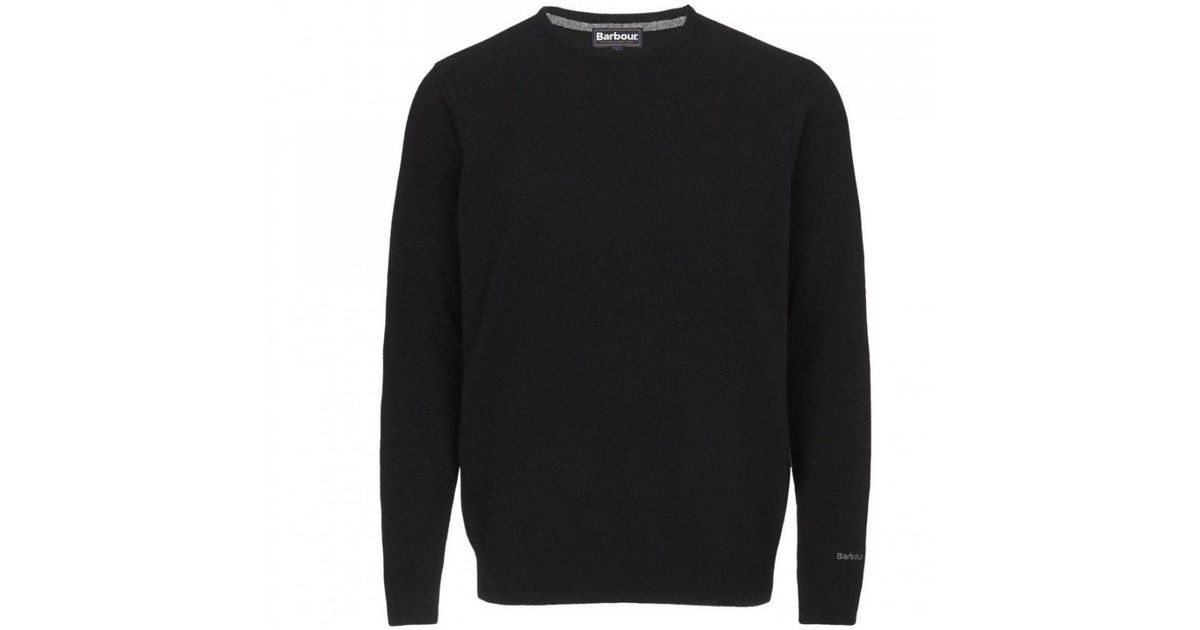 highly praised top-rated professional amazing selection Barbour Black Essential Lambswool Crew Neck Jumper for men