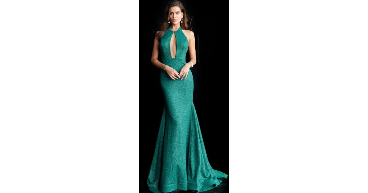 9807fc20 Lyst - Jovani 64851 Backless Front Keyhole Stretch Glitter Prom Gown
