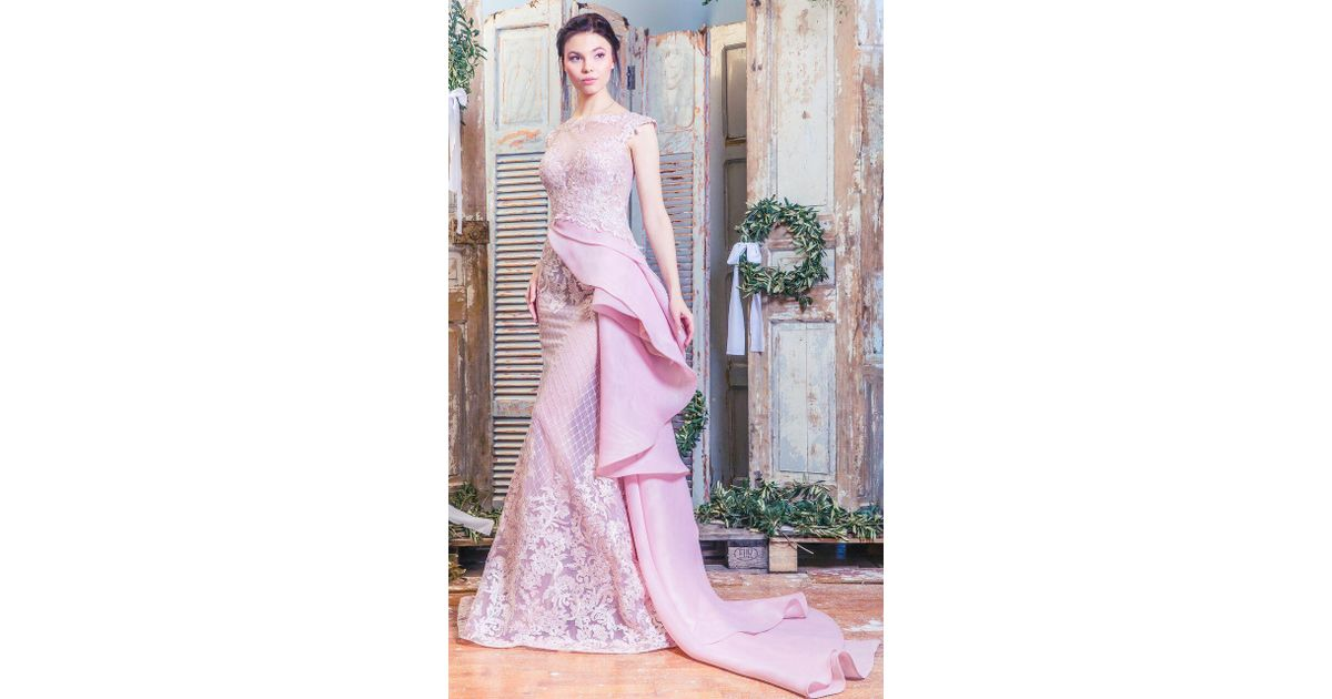 Lyst mnm couture lace applique evening gown k3475 in pink