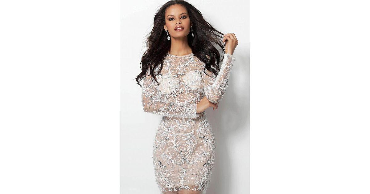 fe885abf85b6 Lyst - Jovani 62009 Fully Beaded Long Sleeve Sheath Cocktail Dress