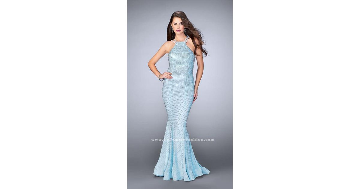 782485b7529bf La Femme 24108 Strappy Beaded Halter Flute Silhouette Prom Dress in Blue -  Lyst
