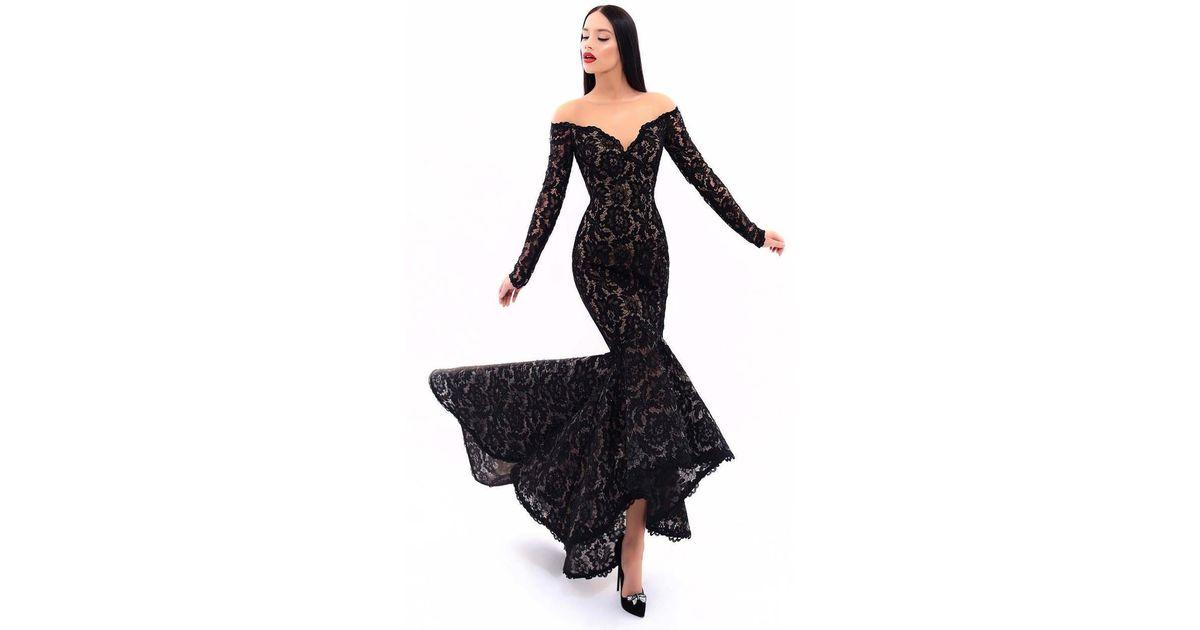 d78337b5947e Tarik Ediz 93310 Long Sleeve Off-shoulder Detail Lace High-low Gown in Black  - Lyst