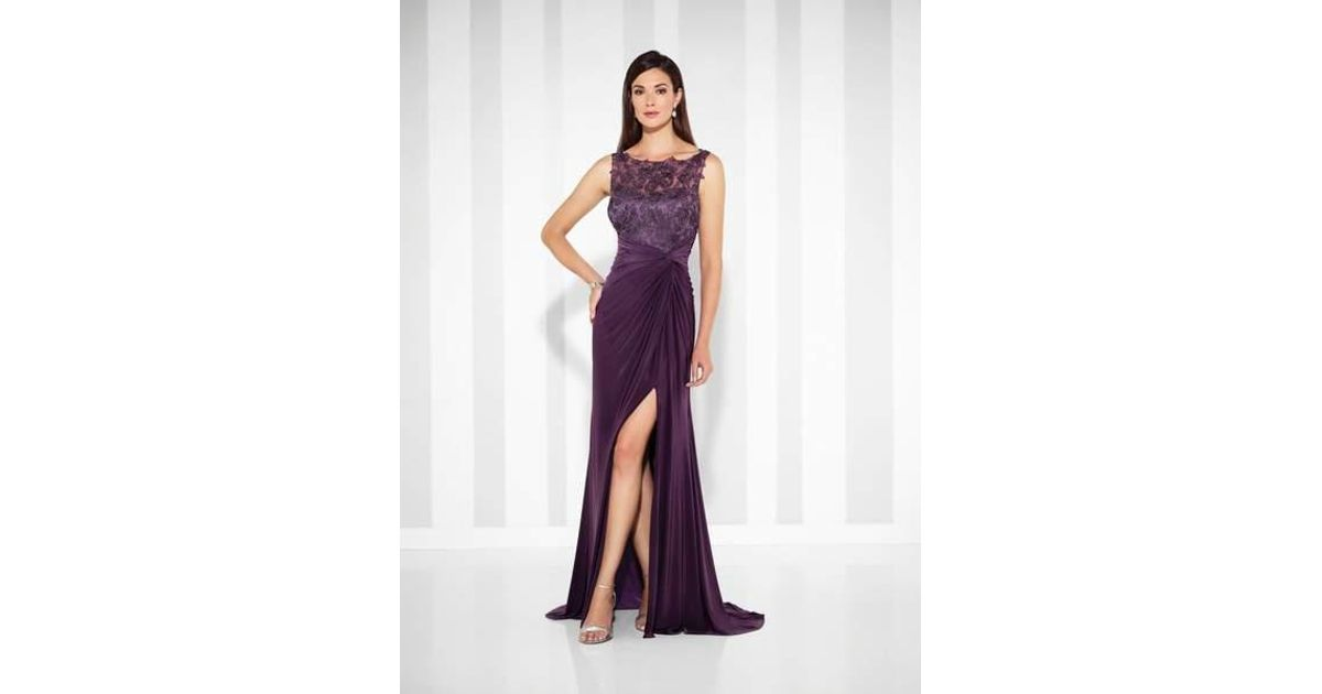 Mon Cheri Purple Cameron Blake Fit And Flare Gown 117613 1 Pc Eggplant In Size 4 And 1 Pc Royal Blue In Size 10 Available