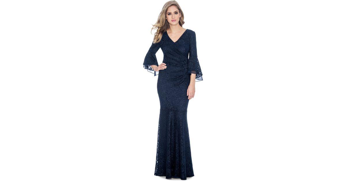 8cc65abee7 Decode 1.8. Women's Blue 184758 Bell Sleeve Glitter Lace Faux Surplice Gown