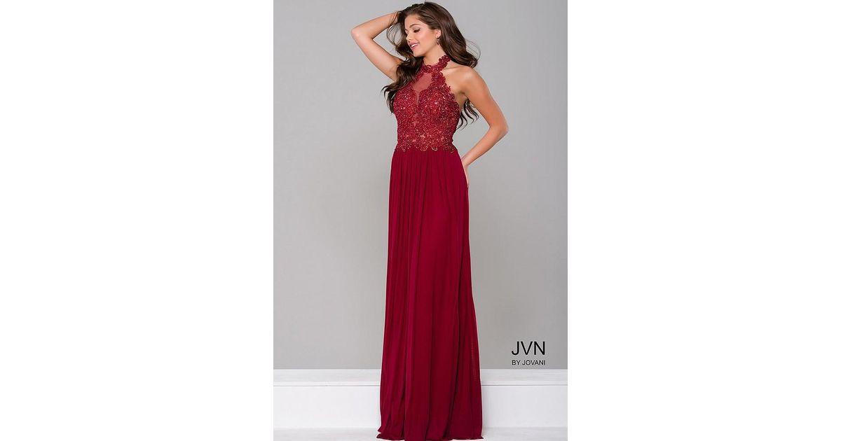 3e592120376 Jovani Halter Neckline Prom Dress Jvn in Red - Lyst