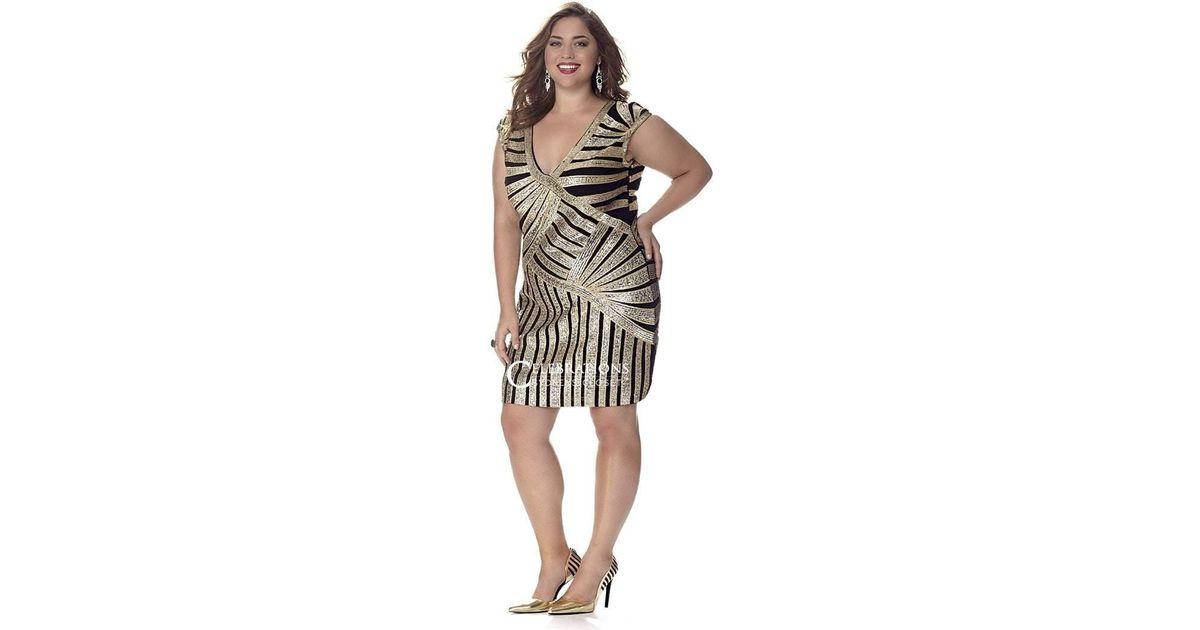 Sydney\'s Closet Ce1536 Plus Size Dress In Gold & Black Print ...