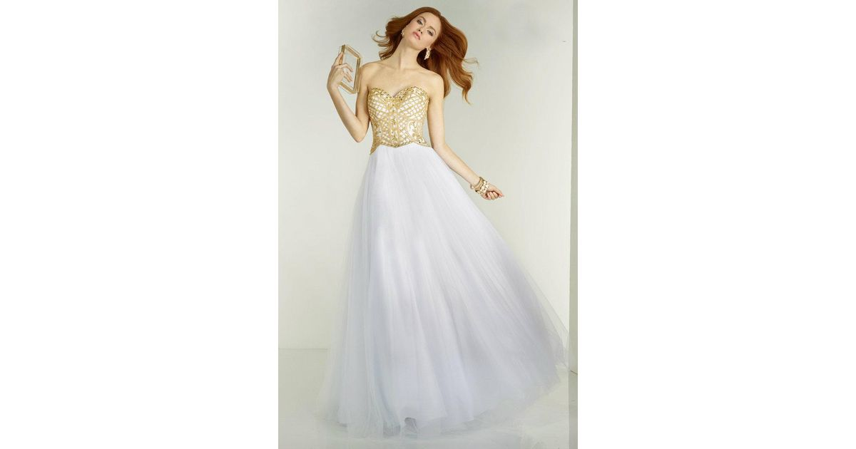 Lyst - Alyce Paris Prom Dress In White Gold in White