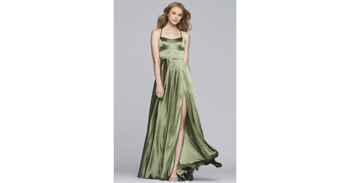 b20e28a5ac0 Lyst - Faviana S10211 Strappy Open Back Charmeuse A-line Dress in Green