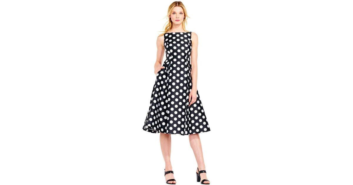 3b6c1bb1ba8 Adrianna Papell Black And White Polka Dot Tea Length Dress 41925310 in  Black - Lyst