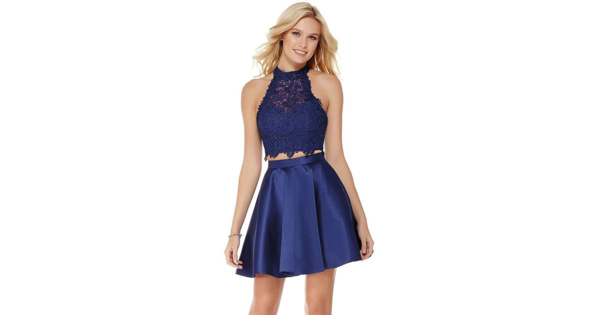 1f400c60fd1 Lyst - Alyce Paris 3800 Two Piece Lace And Mikado Halter Top Cocktail Dress  in Blue