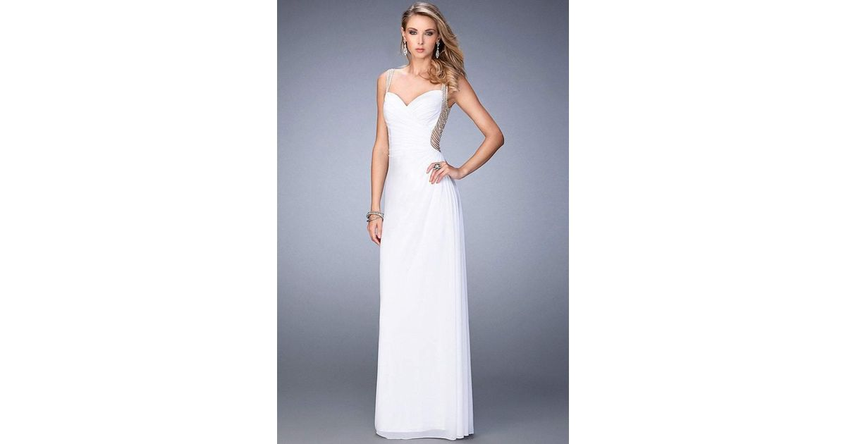 Lyst - La Femme - 22691 Sheer And Beaded Evening Gown in White
