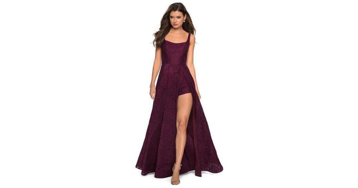 8bf48addac08 Lyst - La Femme 27476 Classy Allover Lace Organza Gown With Romper Shorts  in Purple
