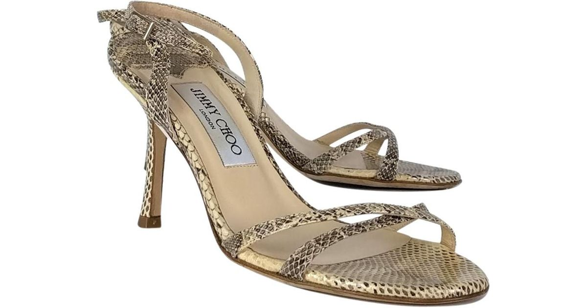 50073cdaf06 Lyst - Jimmy Choo Snakeskin Strappy Sandals