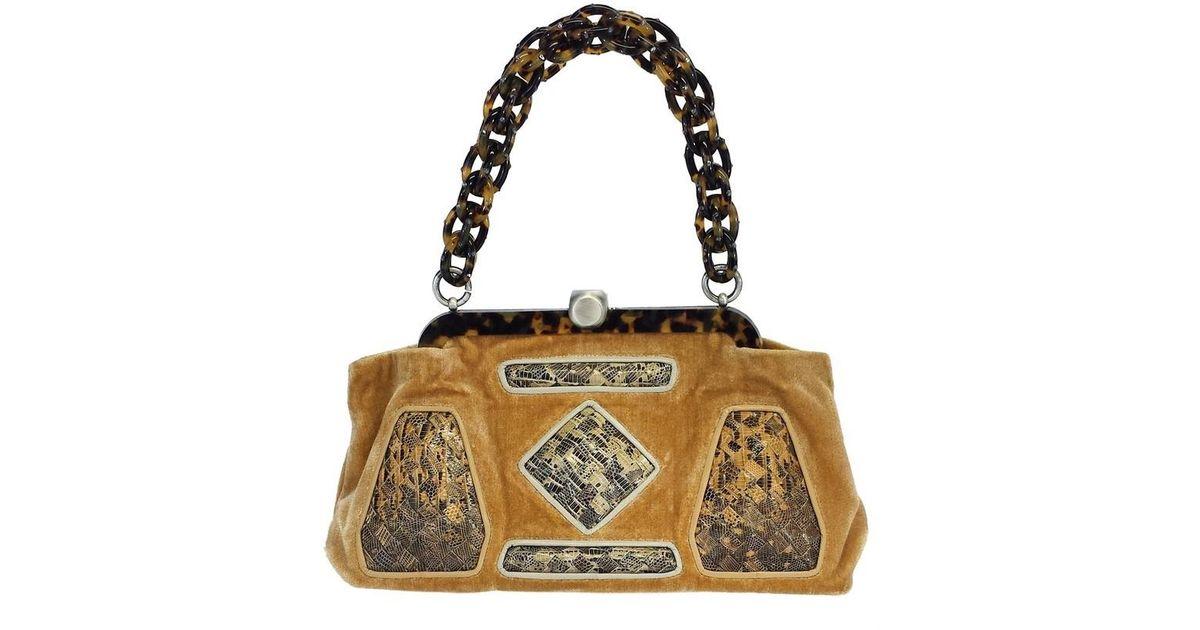 abc7a40abd76 Lyst - Bottega Veneta Velvet   Tortoiseshell Embellished Handbag