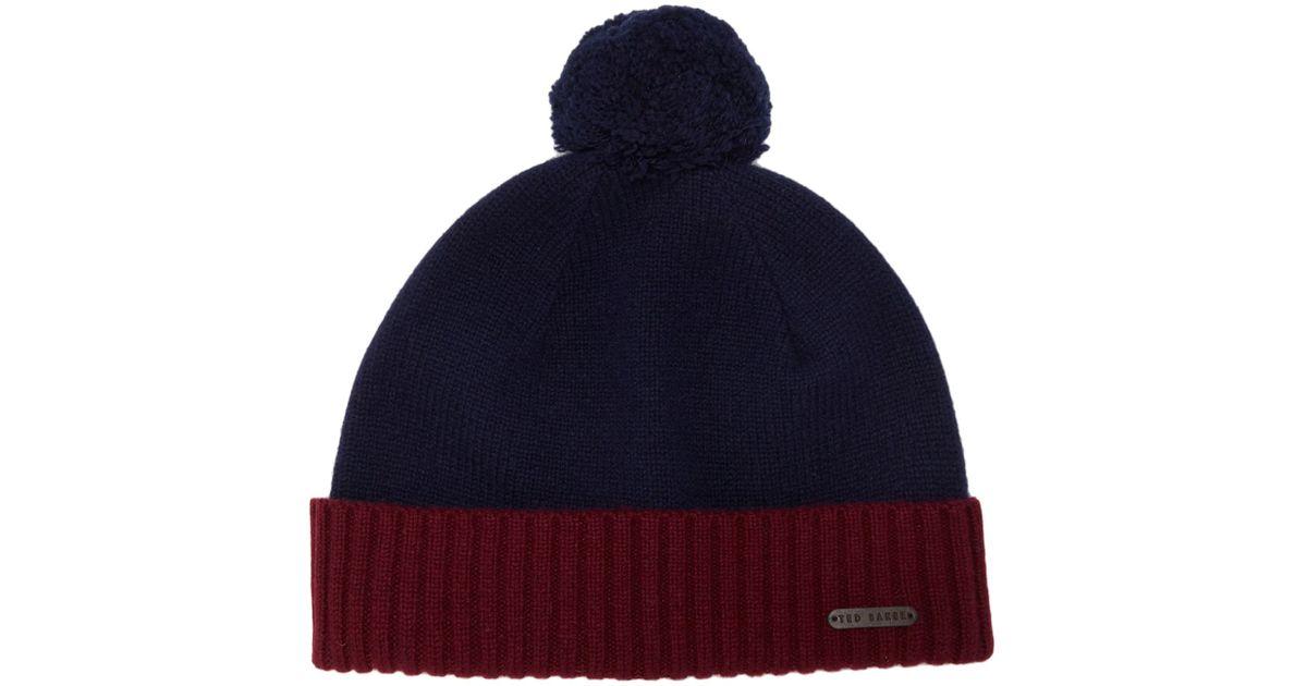 3feaf5c72da Ted Baker Sor Wool Beanie Hat in Blue for Men - Lyst