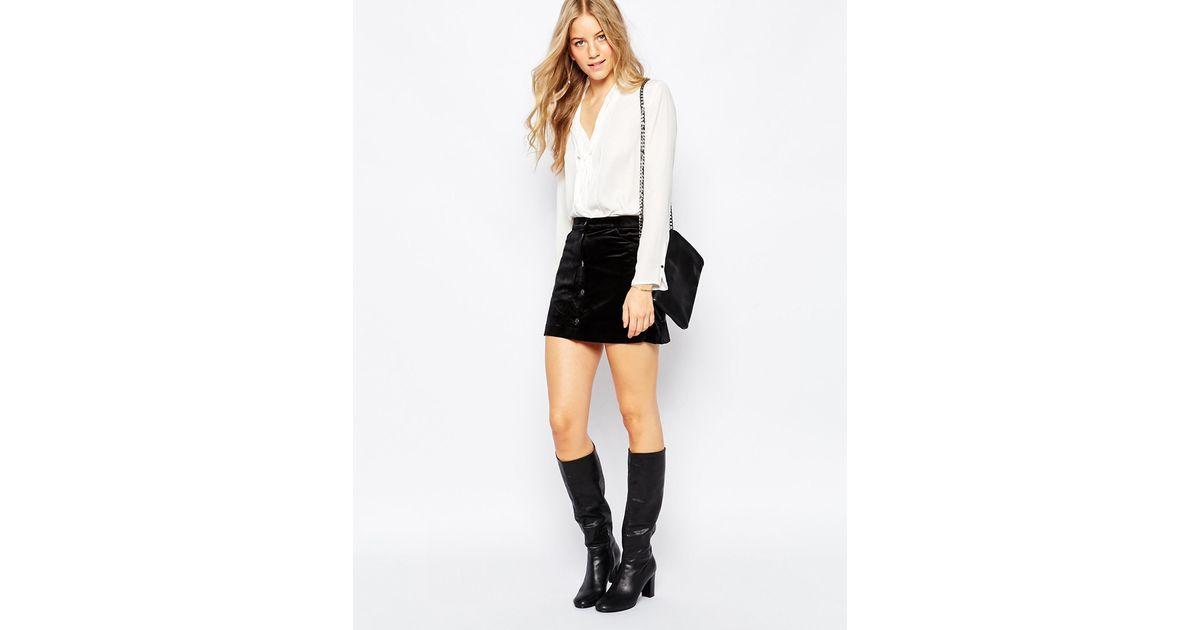vero moda velvet a line skirt in black lyst