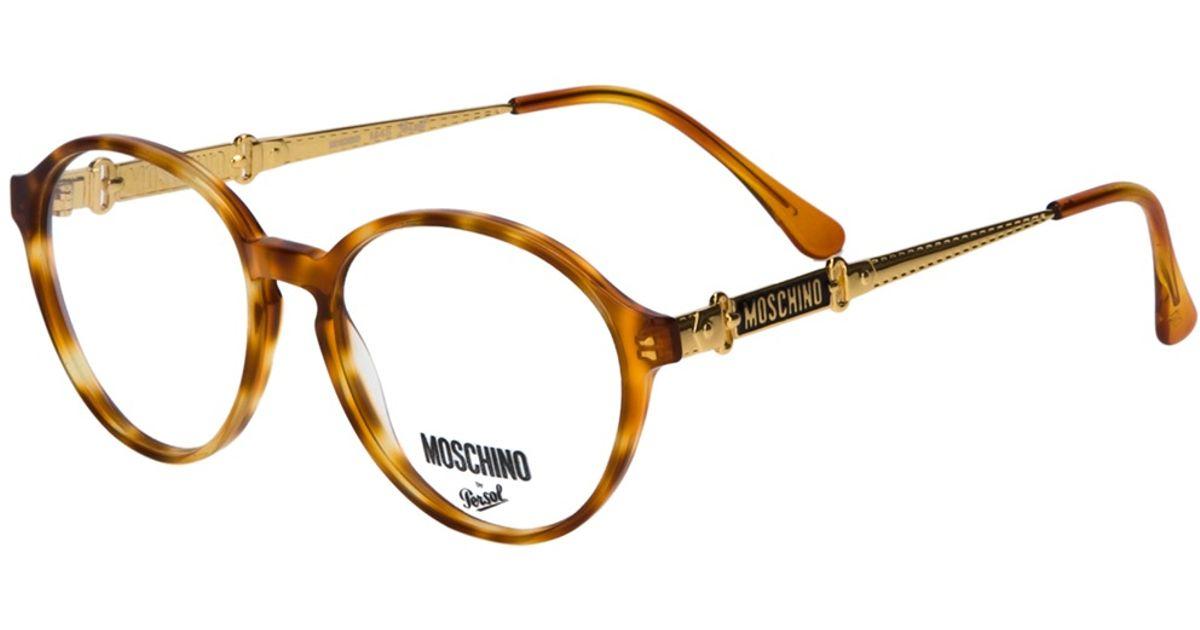 4471ac7b22e7 Moschino Round Frame Glasses in Metallic - Lyst