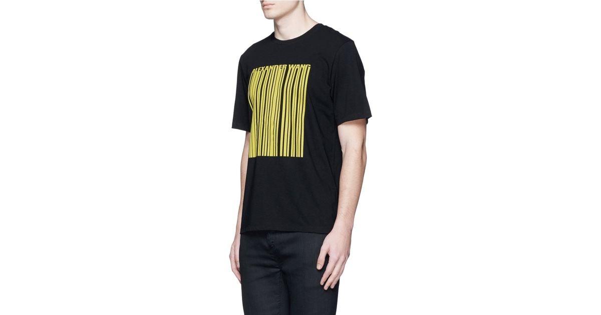 Alexander Wang Barcode Logo Mesh Print T Shirt In Black