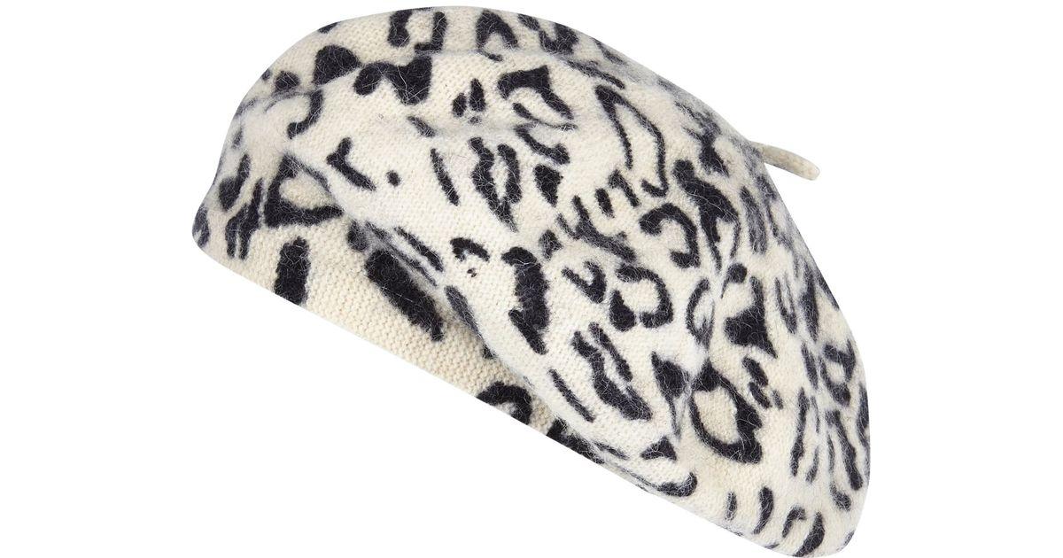 1be59572e River Island Natural Cream Leopard Print Fluffy Beret Hat