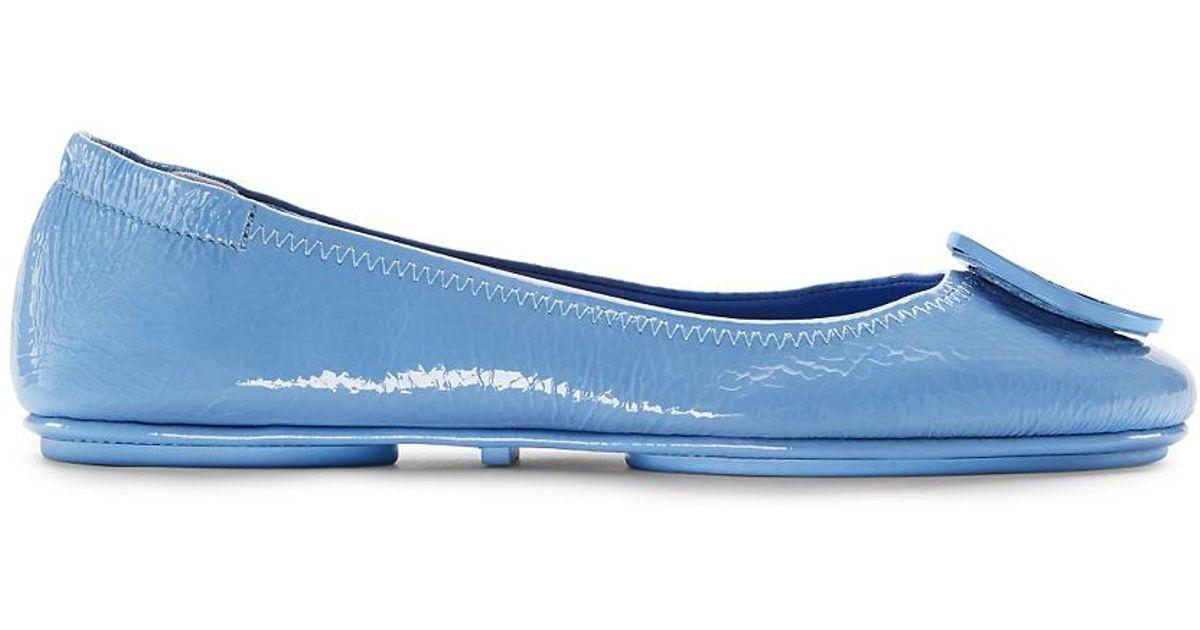 d9f5988b9d8f ... best lyst tory burch minnie travel ballet flats in blue c3fb7 5e58e