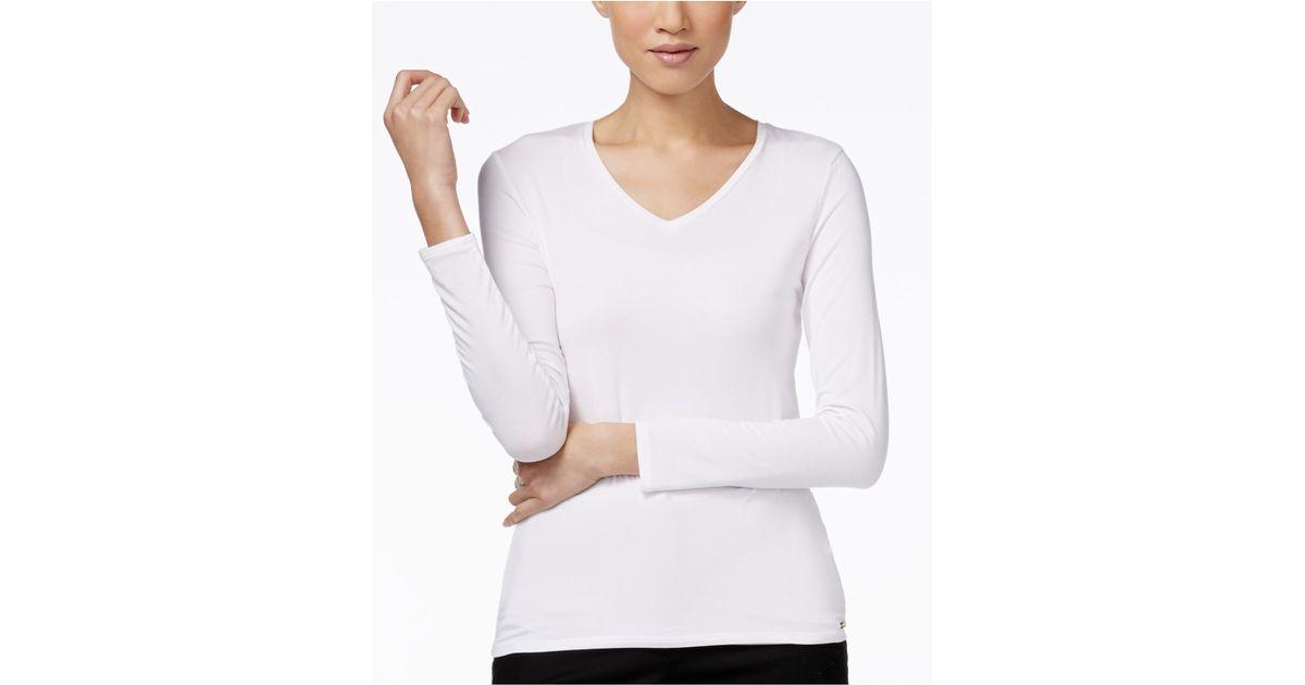 Calvin klein long sleeve v neck t shirt in white true for Long white v neck t shirt