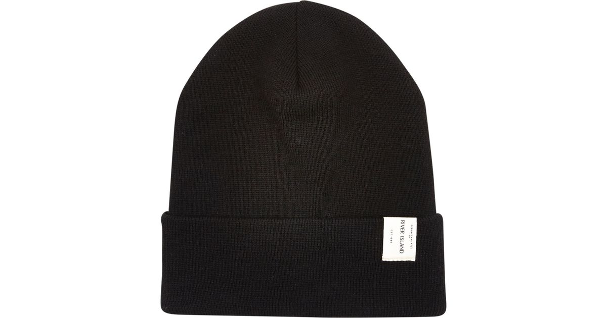 2c8cb258477 River Island Black Ri Label Trim Beanie Hat in Black for Men - Lyst