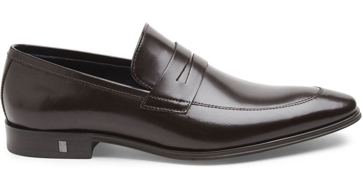 bbd9f3a8113 Lyst - Versace Brown Spazzolato Leather Penny Loafers in Brown for Men
