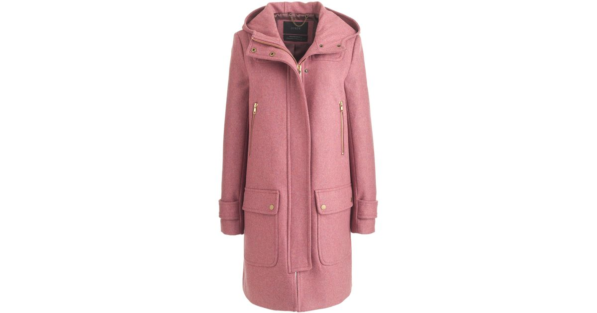 J.crew Petite Wool Melton Duffle Coat in Pink | Lyst